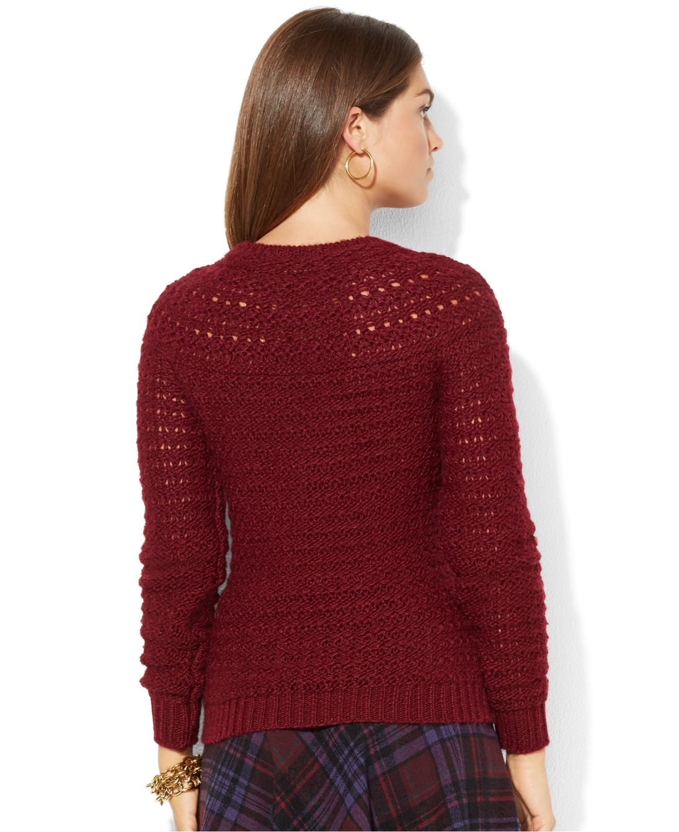 Lauren Ralph Lauren. Red Pointelle-Knit Crew-Neck Sweater