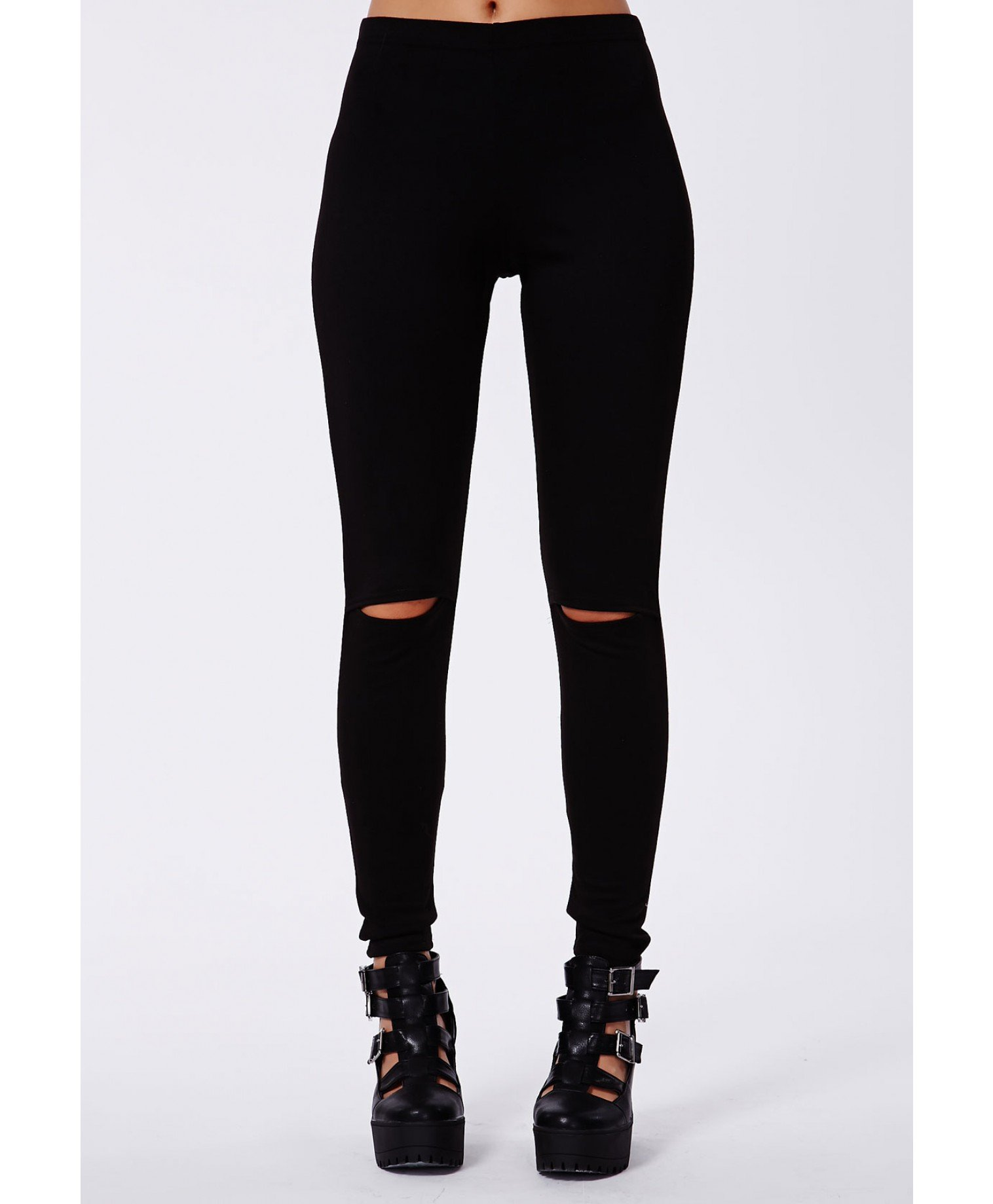 Missguided Alissia Cut Out Knee Leggings in Black | Lyst