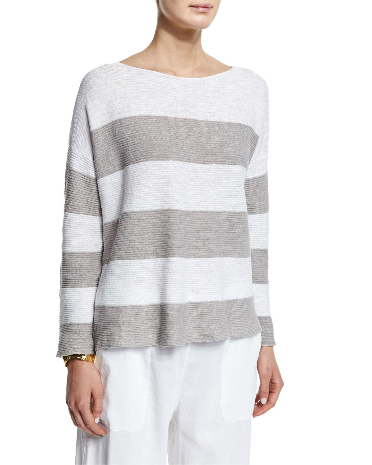 Eileen Fisher Long Sleeve Striped Box Top In Multicolor