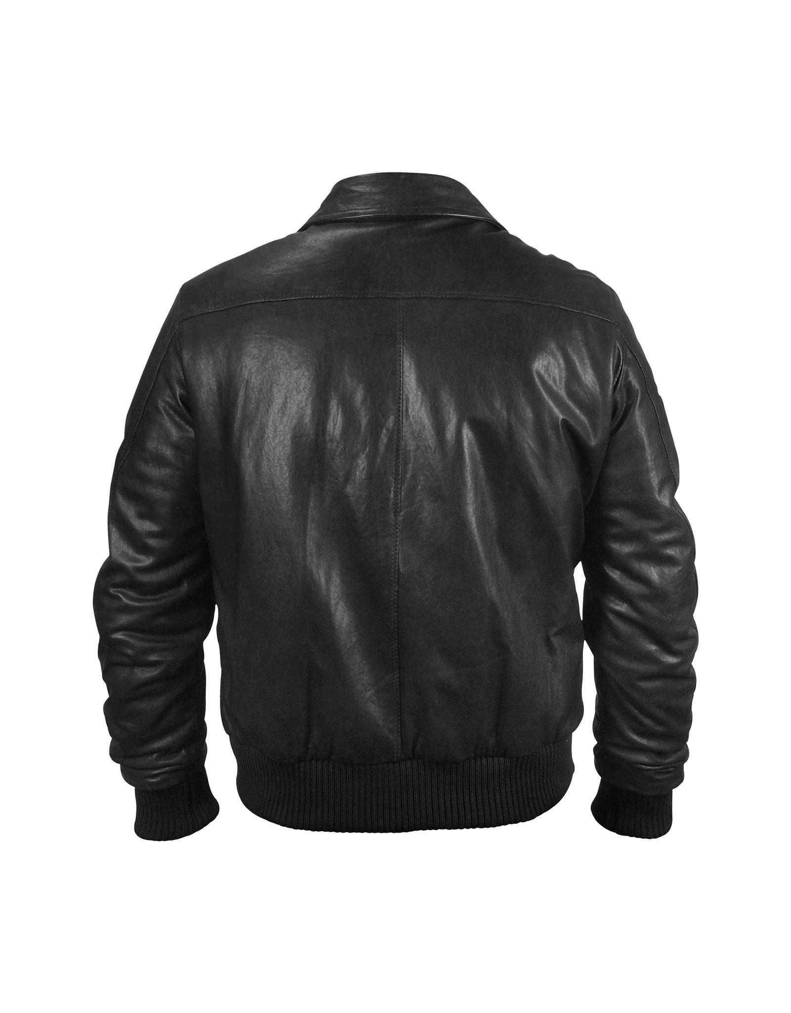 forzieri mens black leather motorcycle jacket in black