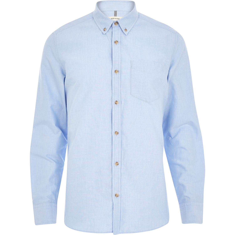 River island light blue long sleeve oxford shirt in blue for Mens blue oxford shirt