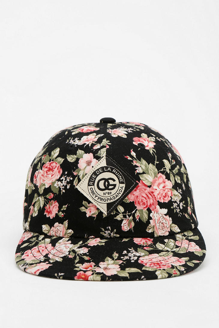 Lyst Obey Floral Snapback Hat In Black