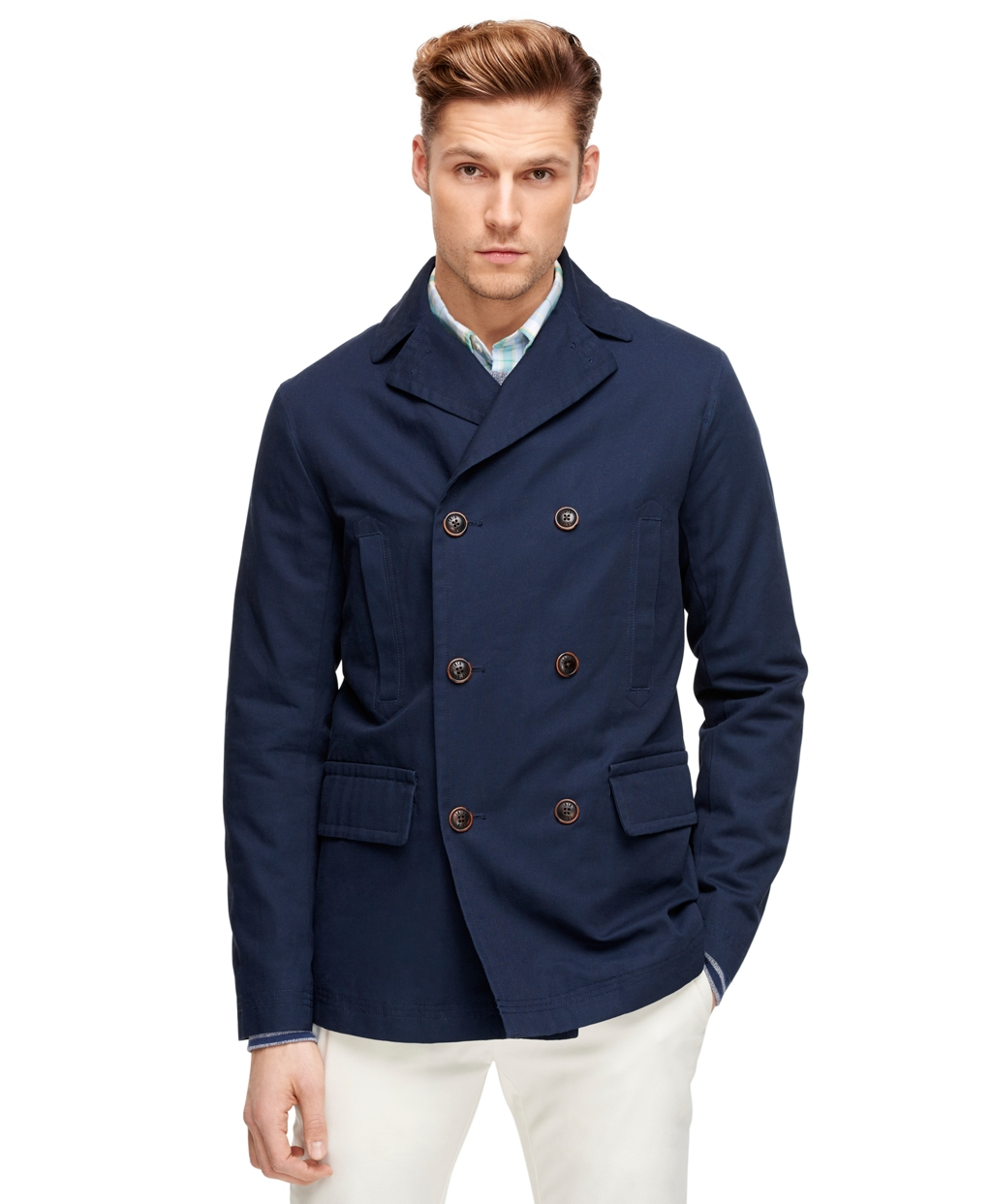 Brooks brothers Pea Coat in Blue for Men | Lyst