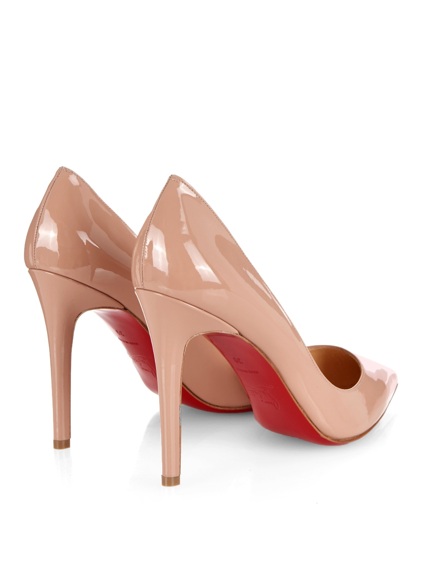 buy popular 7d240 7b4d5 Christian Louboutin Natural Pigalle 100Mm Patent-Leather Pumps