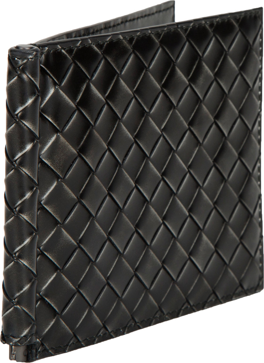06e6ea25554f Bottega Veneta Folding Card Case with Money Clip in Black for Men - Lyst