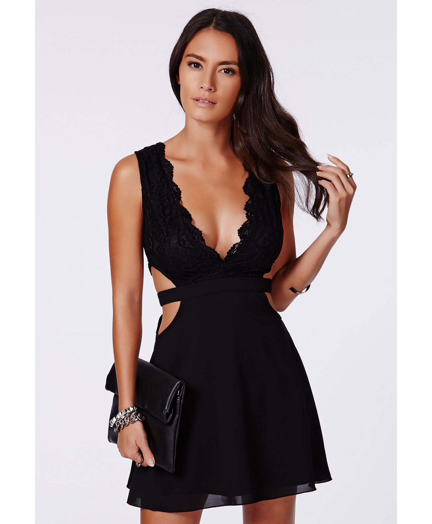 bc665ff886 Lyst - Missguided Roksy Black Lace Plunge Cut Out Dress in Black