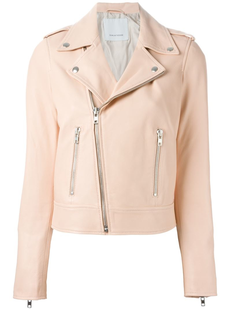 cc9162580 Scanlan Theodore Leather Classic Biker Jacket in Pink - Lyst
