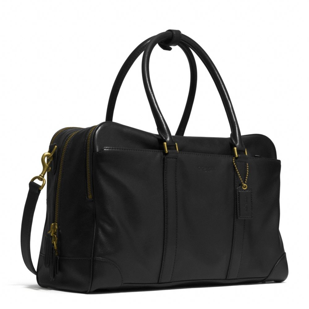 coach bleecker day bag in leather in black for men