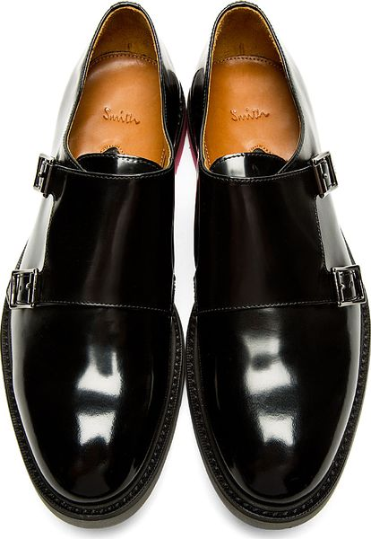 paul smith black monk pitt shoes in black for lyst