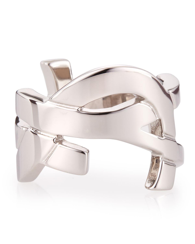 Lyst Saint Laurent Silvertone Ysl Logo Ring In Metallic