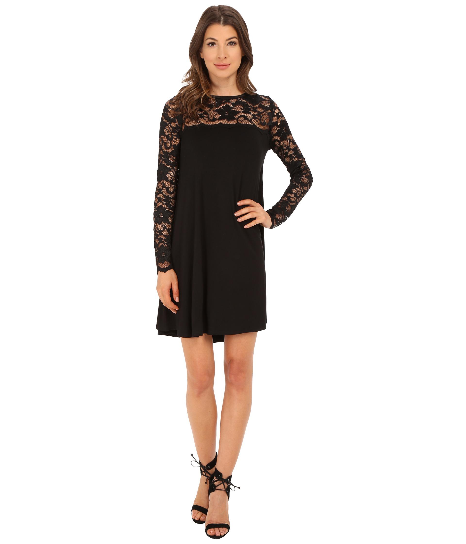Lyst - Karen Kane Long Sleeve Lace Yoke Swing Dress in Black