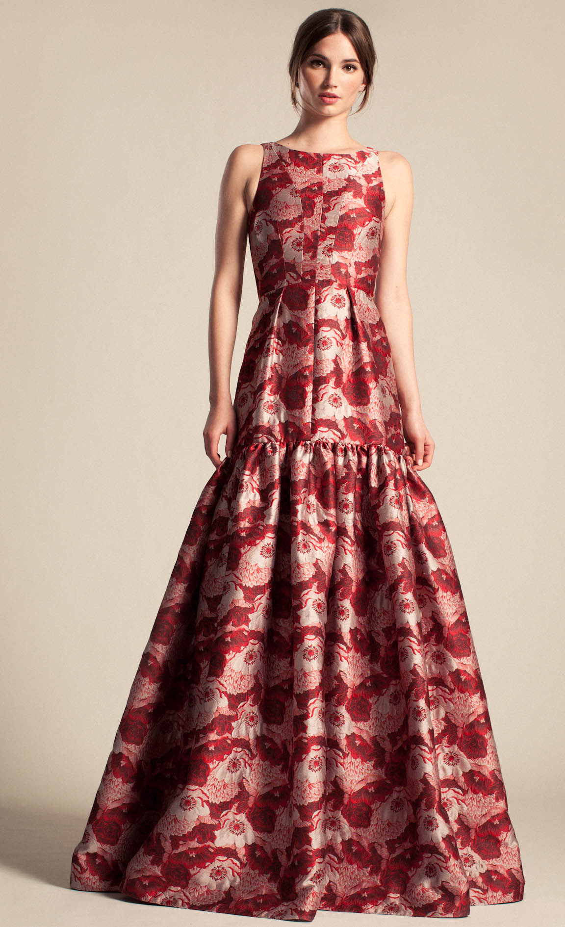 Temperley London Long Rosa Jacquard Dress In Red Lyst