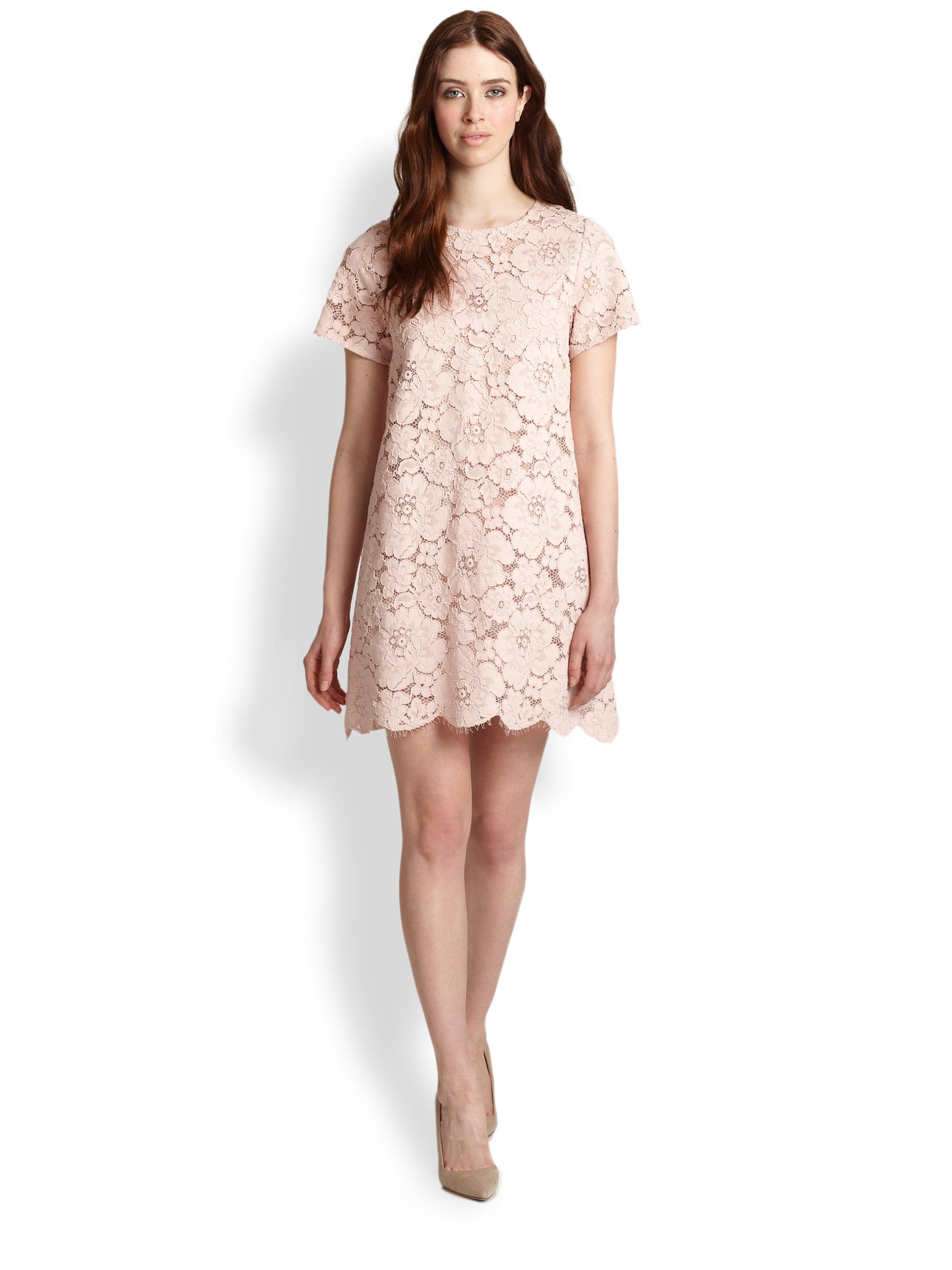 Lyst bcbgmaxazria floral lace dress in pink gallery mightylinksfo