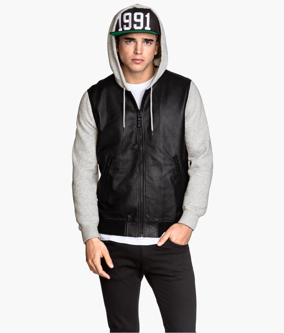 H&M Hooded Bomber Jacket in Black for Men