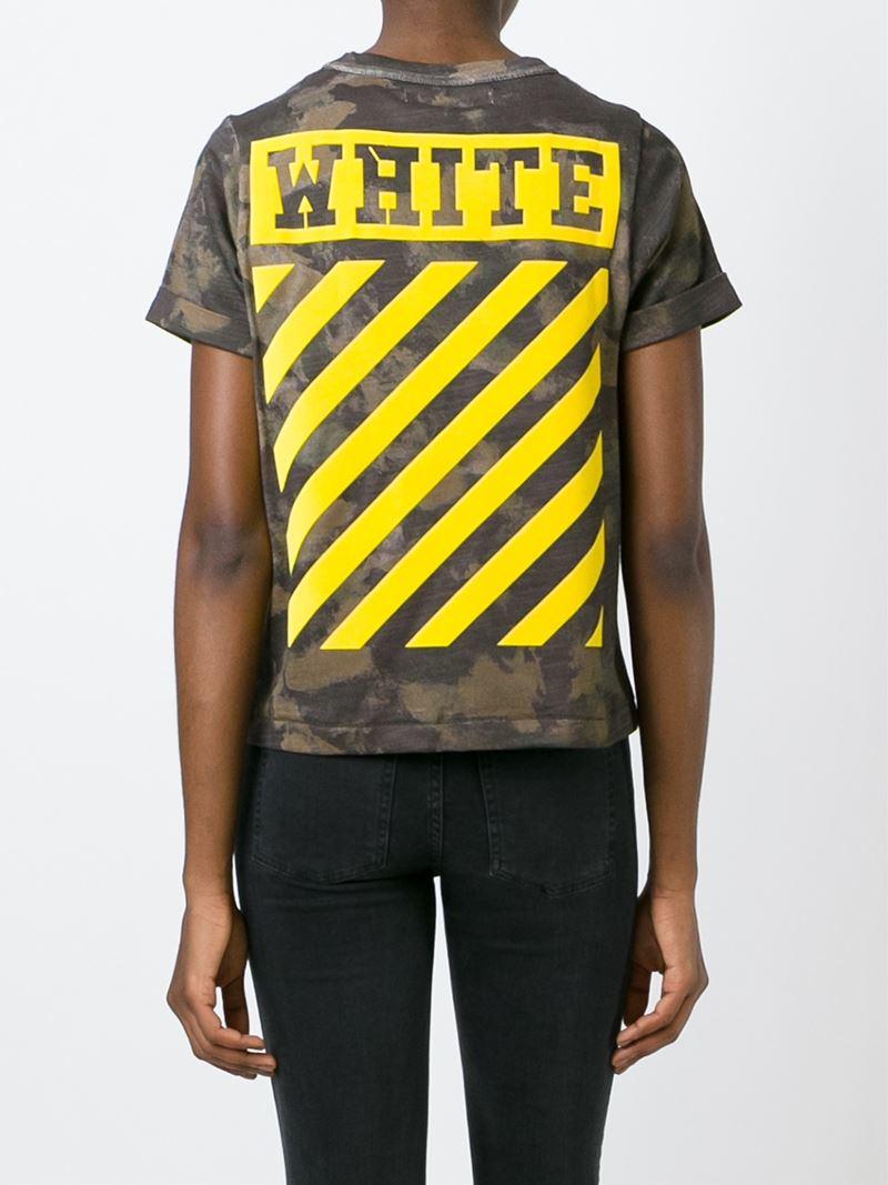 lyst off white c o virgil abloh camouflage print t shirt in brown. Black Bedroom Furniture Sets. Home Design Ideas