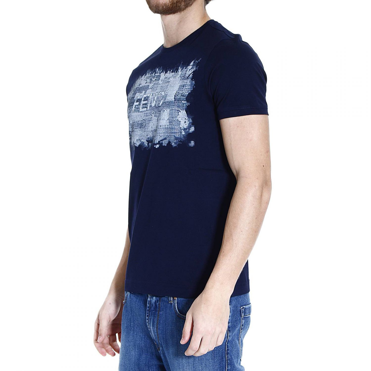 Fendi T Shirt Half Sleeve With Print Scritta Denim Big In