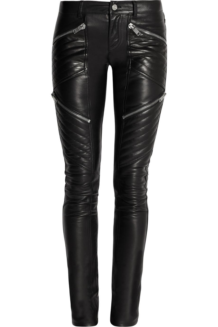 Saint Laurent Leather Skinny Pants In Black Lyst
