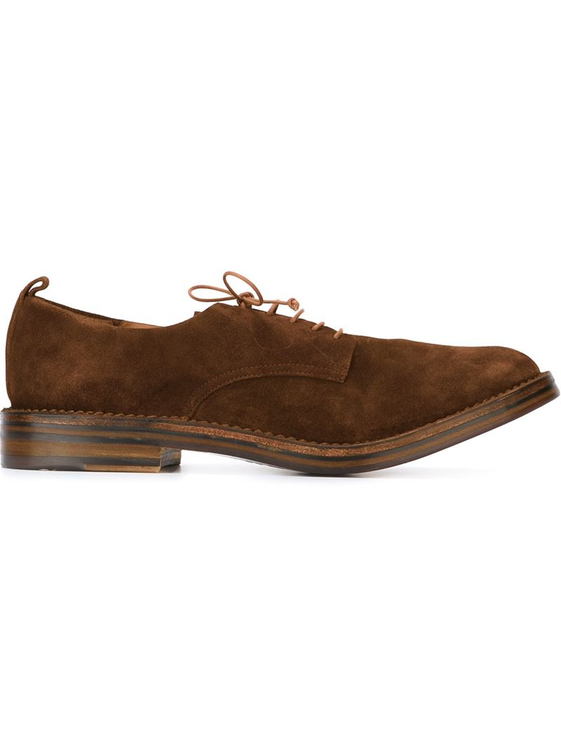 buttero stacked heel derby shoes in brown for lyst