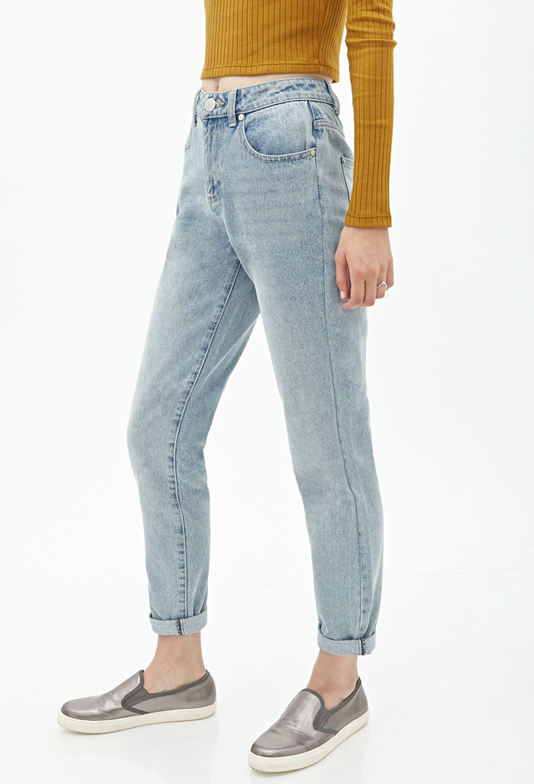 Forever 21 High-rise Boyfriend Jeans in Blue | Lyst