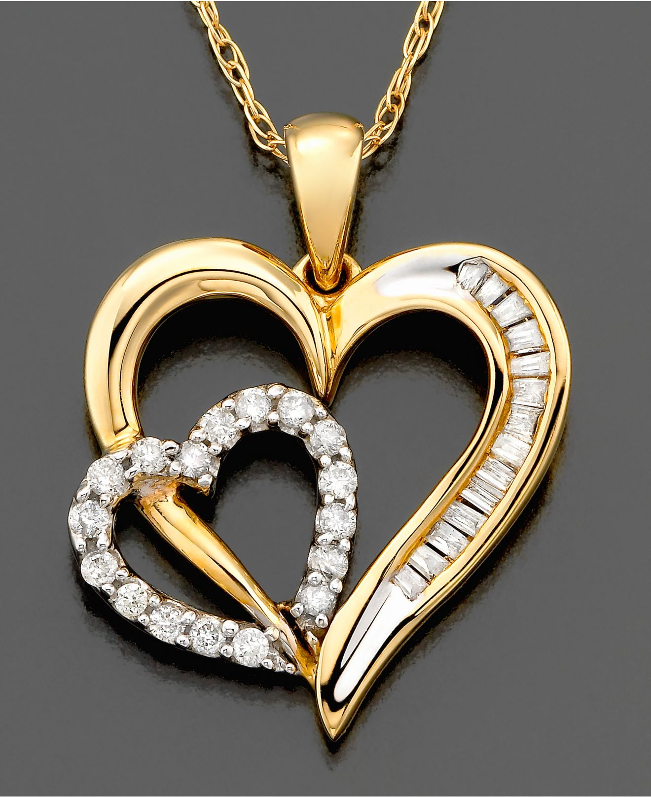 Lyst macys diamond heart pendant necklace in 14k gold 15 ct gallery mozeypictures Gallery