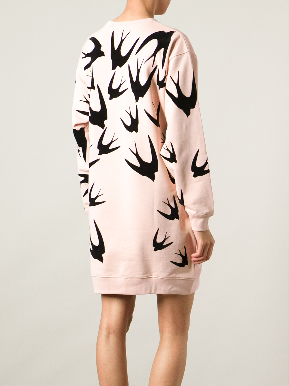 Mcq Swallow Print Sweatshirt Dress In Pink Amp Purple Pink