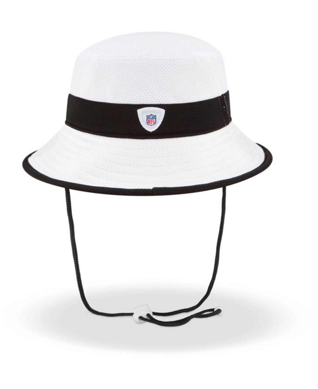 0e8b8c07 KTZ White Oakland Raiders Training Camp Official Bucket Hat for men