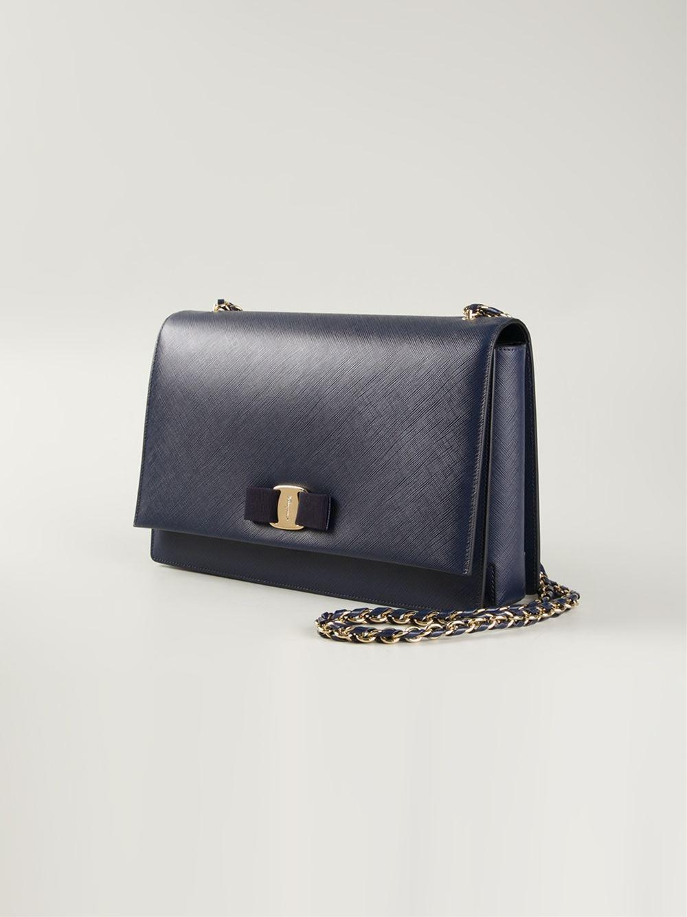 Ferragamo Ginny Leather Cross-Body Bag in Blue
