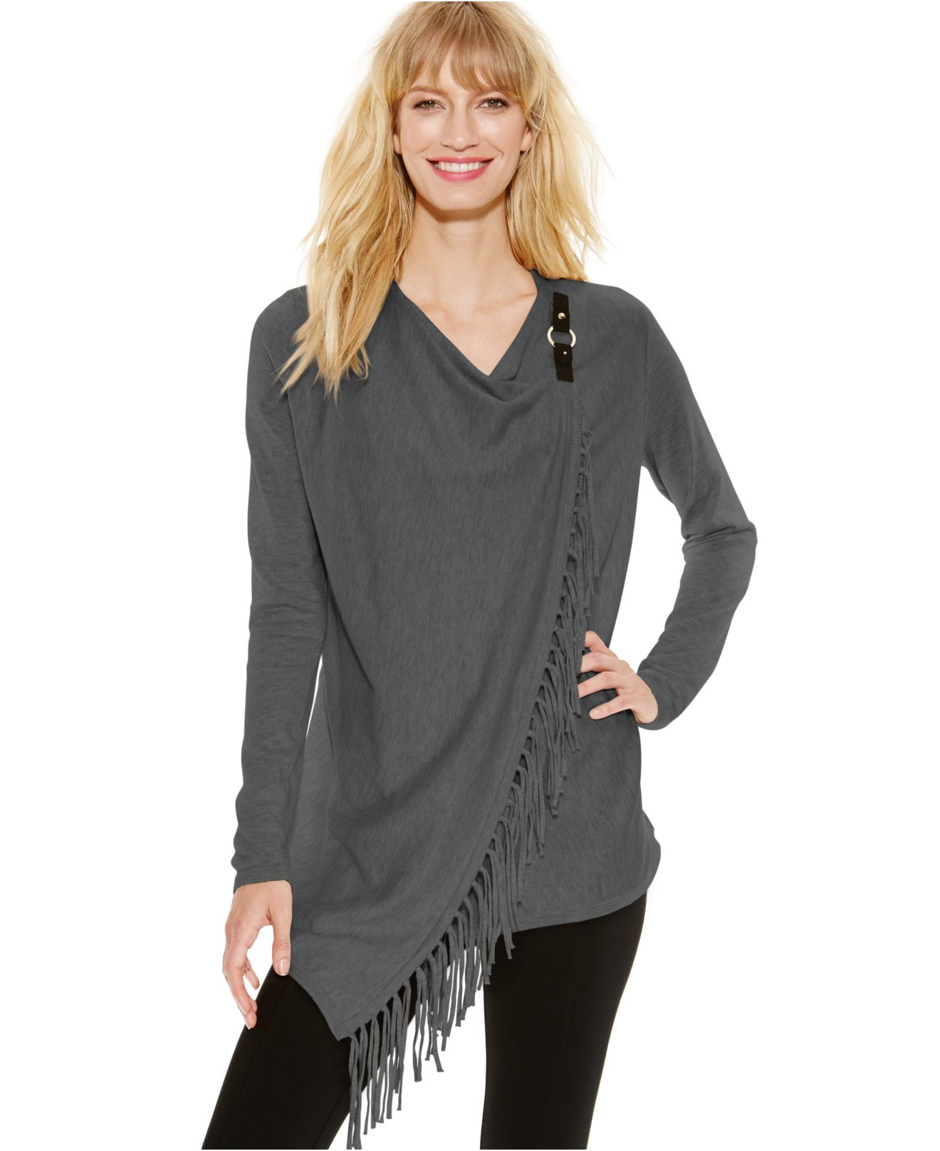 Inc international concepts Fringe Wrap Cardigan in Gray | Lyst