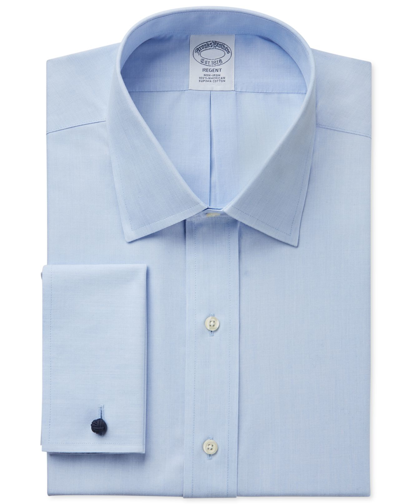 Brooks brothers classic fit non iron solid french cuff for No iron slim fit dress shirts