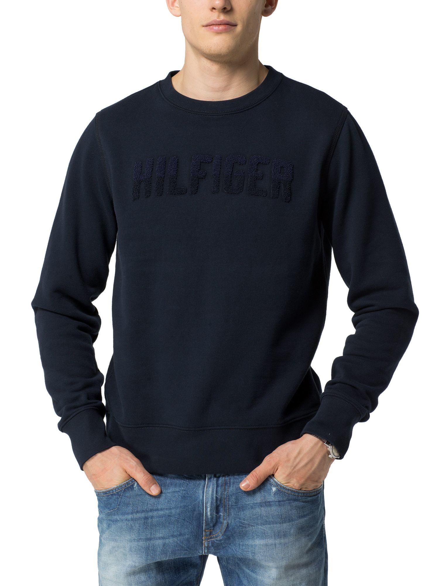 tommy hilfiger lexie plain crew neck pull over jumper in blue for men lyst. Black Bedroom Furniture Sets. Home Design Ideas