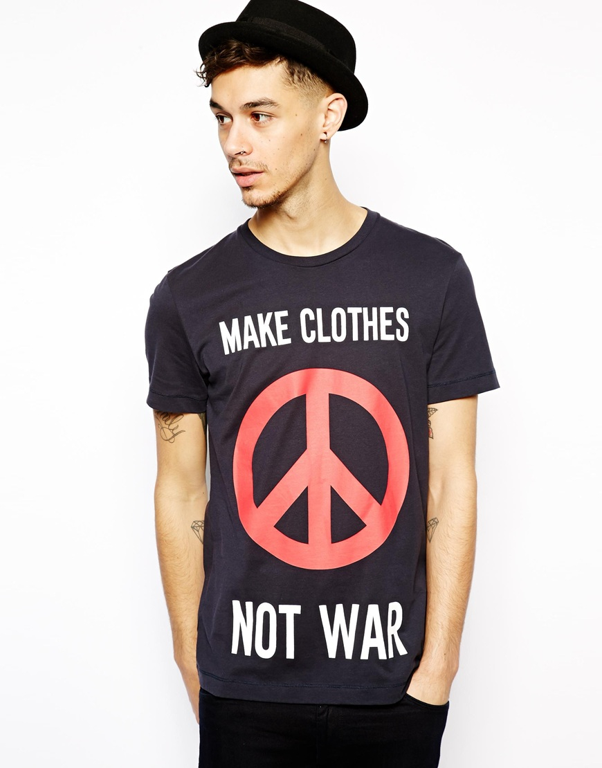 love moschino tshirt with make clothes not war print in. Black Bedroom Furniture Sets. Home Design Ideas