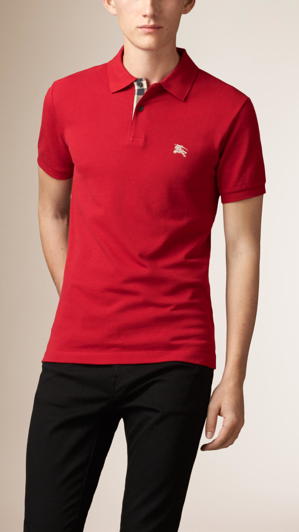 Burberry Check Placket Polo Shirt In Red For Men Lyst
