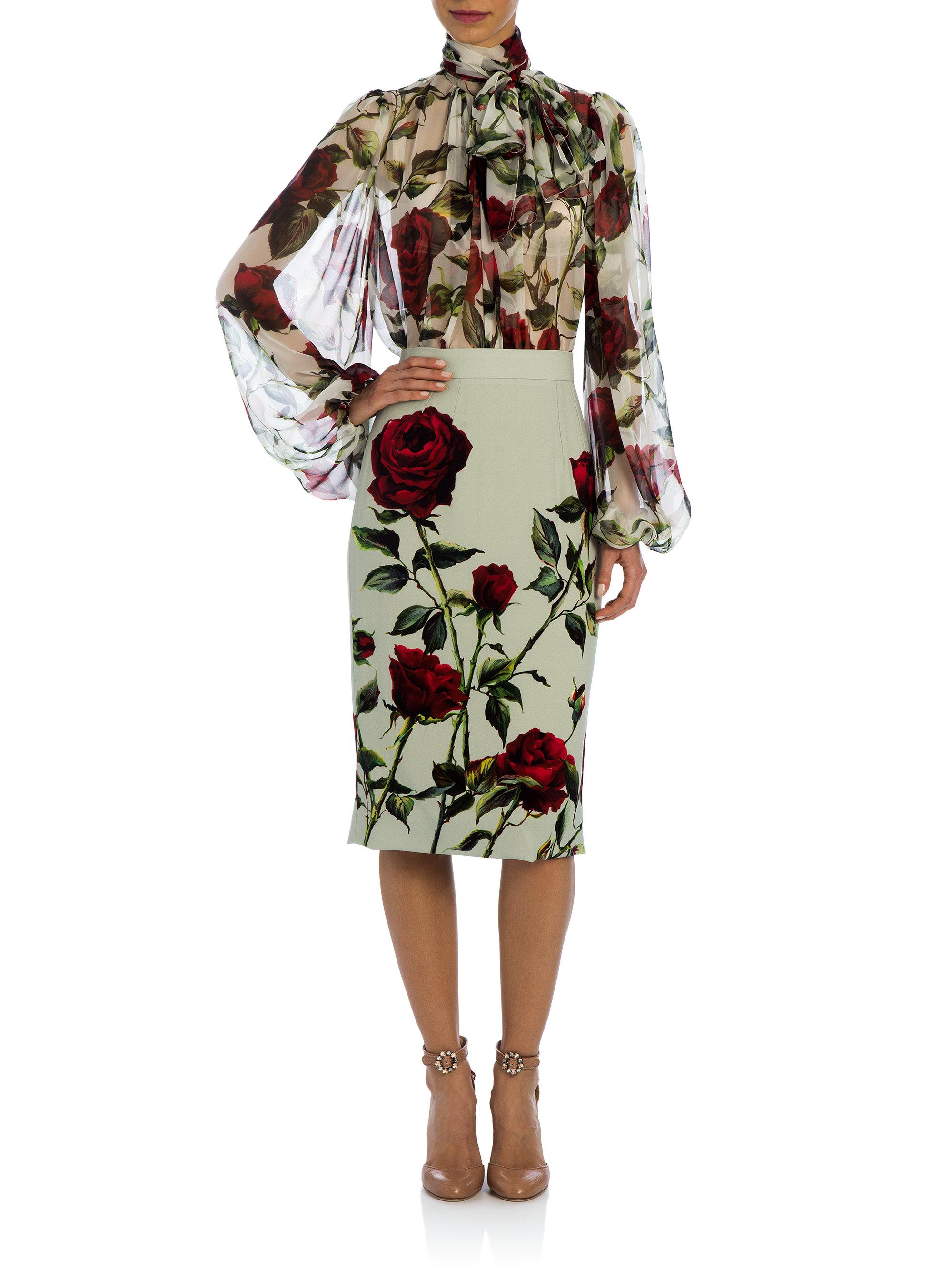 Lyst Dolce Amp Gabbana Rose Silk Chiffon Tie Neck Blouse