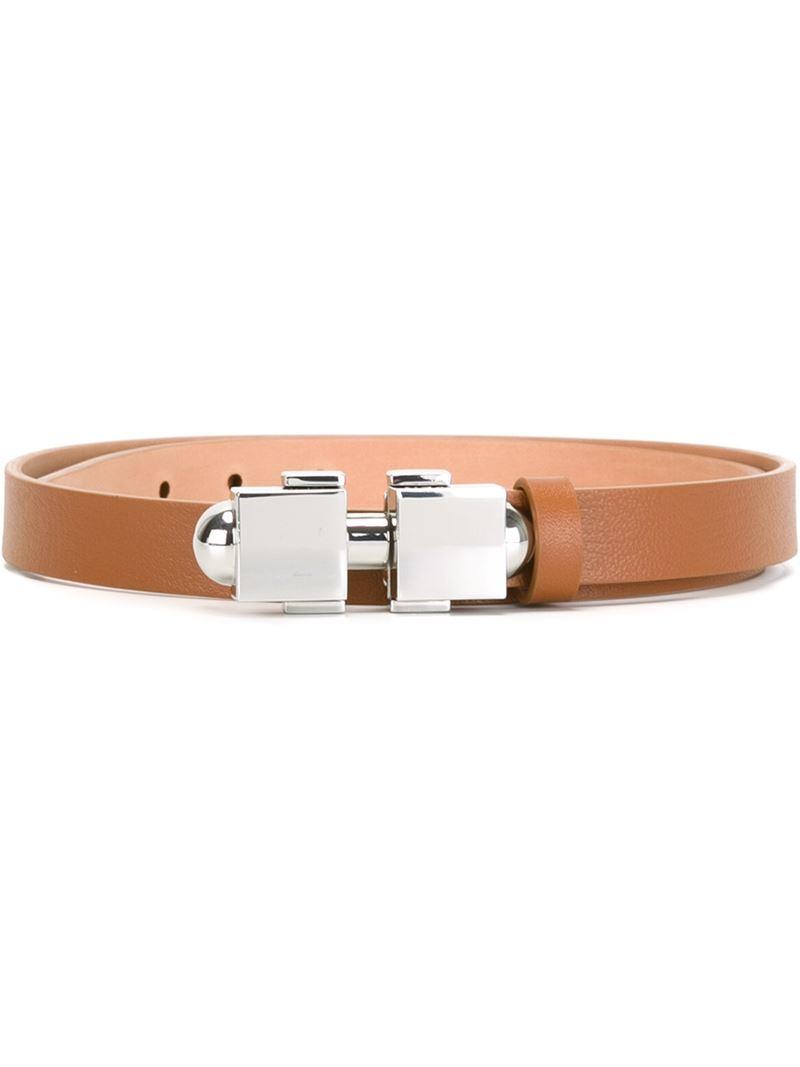 carven metallic buckle belt in brown lyst