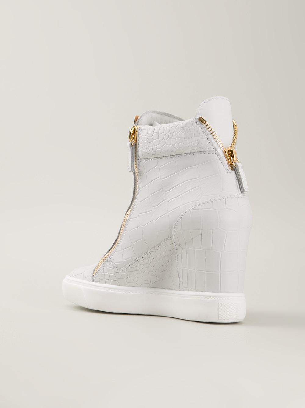 giuseppe zanotti slipon wedge sneakers in white lyst