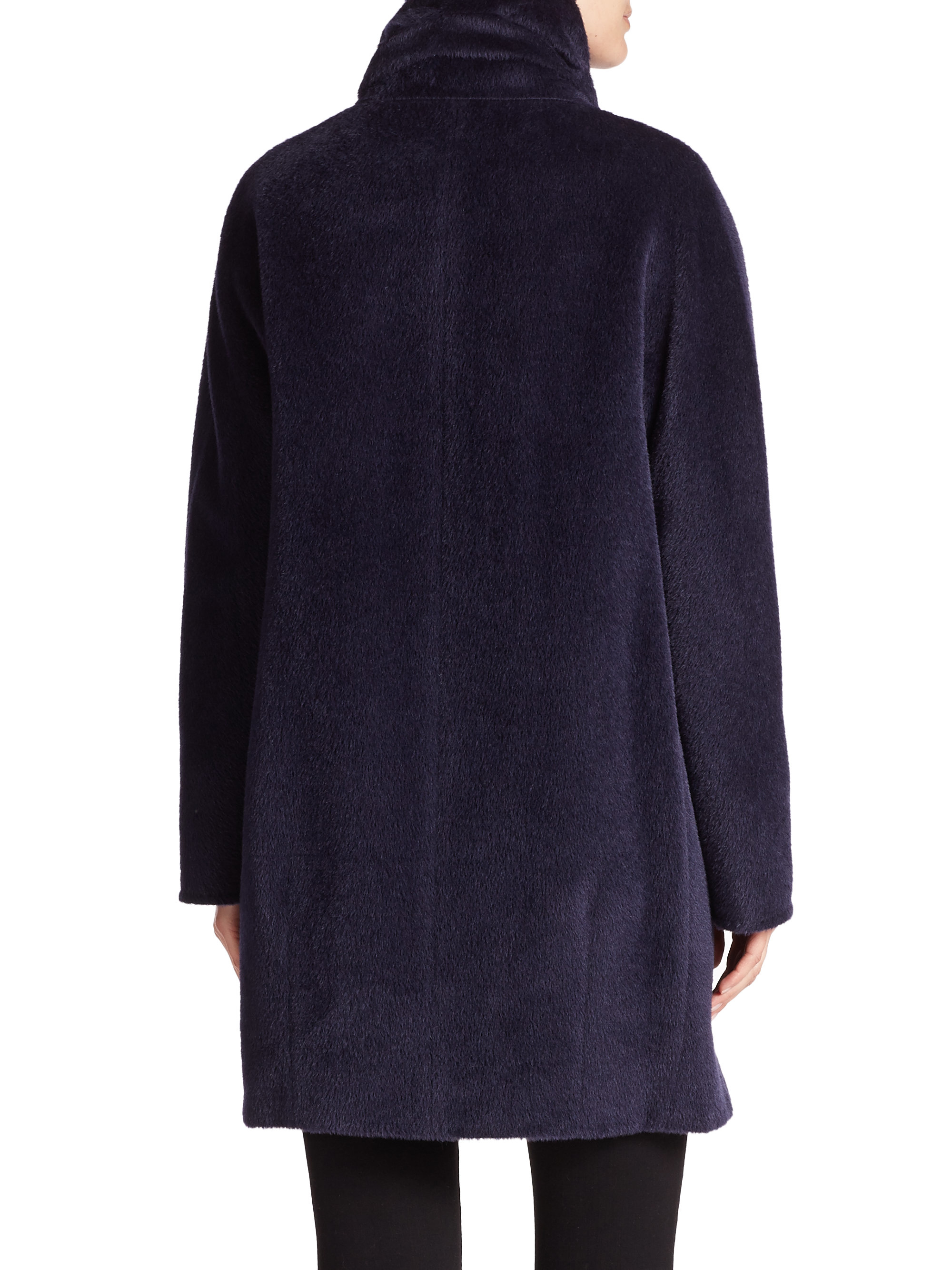 Cinzia Rocca Llama Amp Wool Blend Coat In Blue Navy Lyst