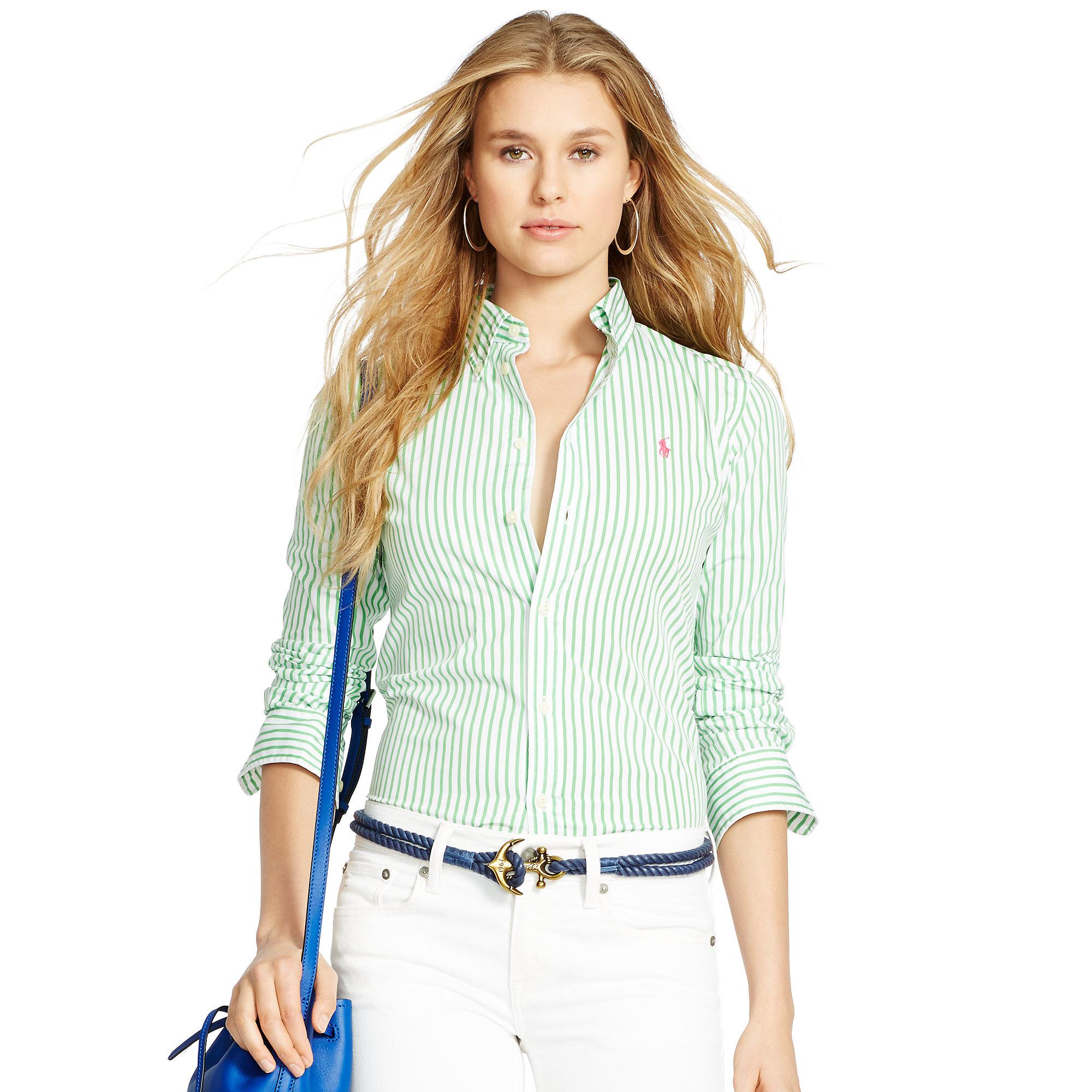 8cc6b717c43600 Polo Ralph Lauren Custom-fit Striped Shirt in Green - Lyst