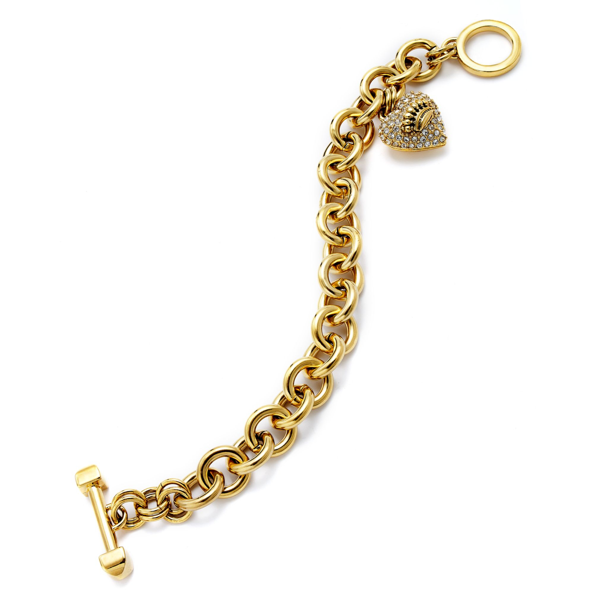 Juicy couture goldtone pave heart charm bracelet in gold no color