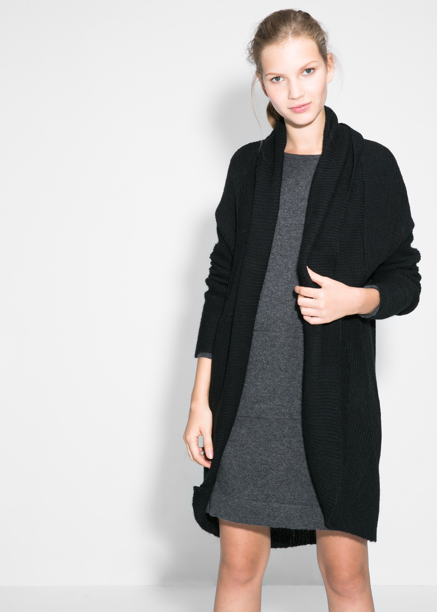 Mango Lapel Wool-Blend Cardigan in Black | Lyst