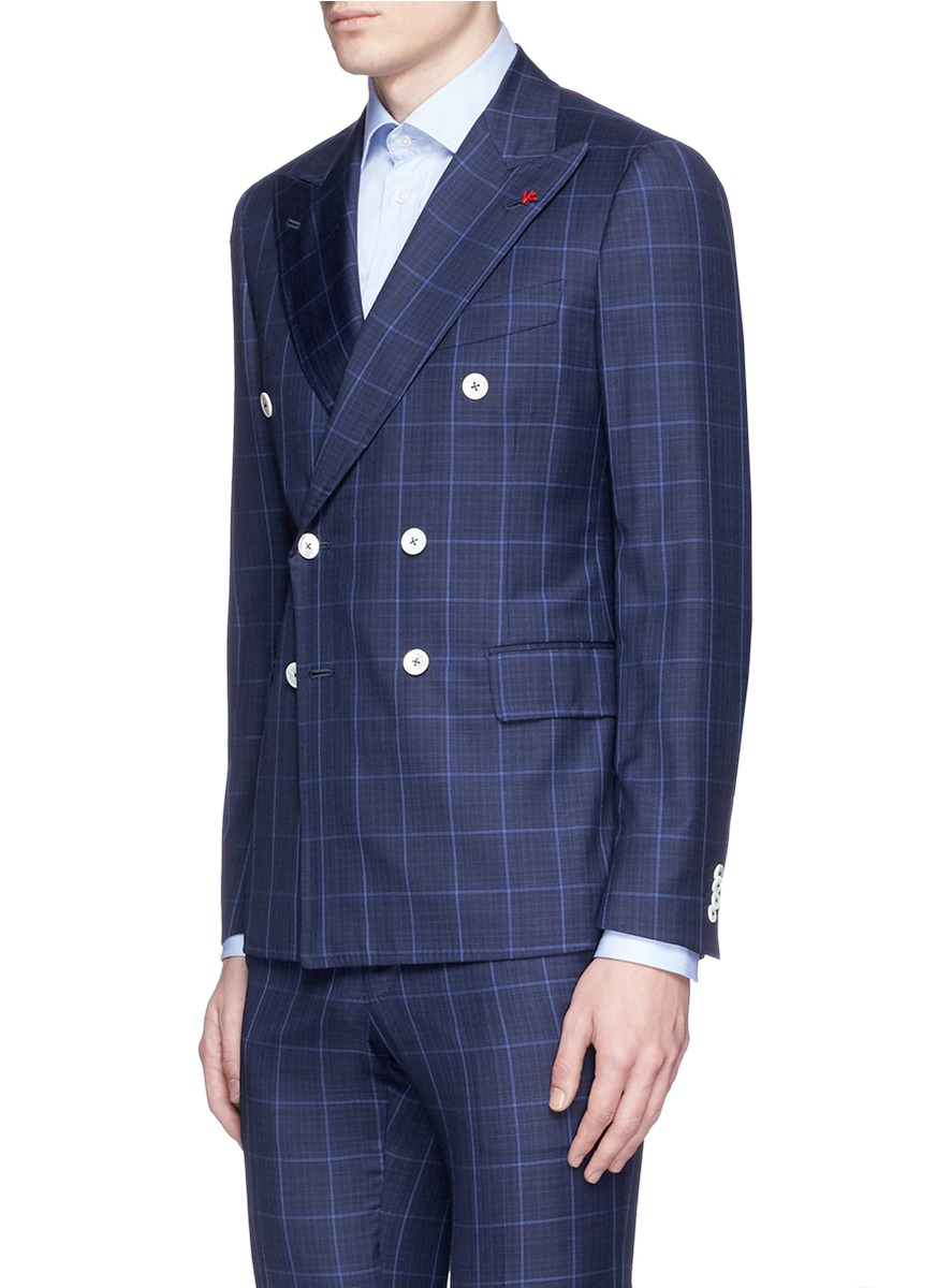 Isaia 'cortina' Windowpane Check Wool Suit in Blue for Men