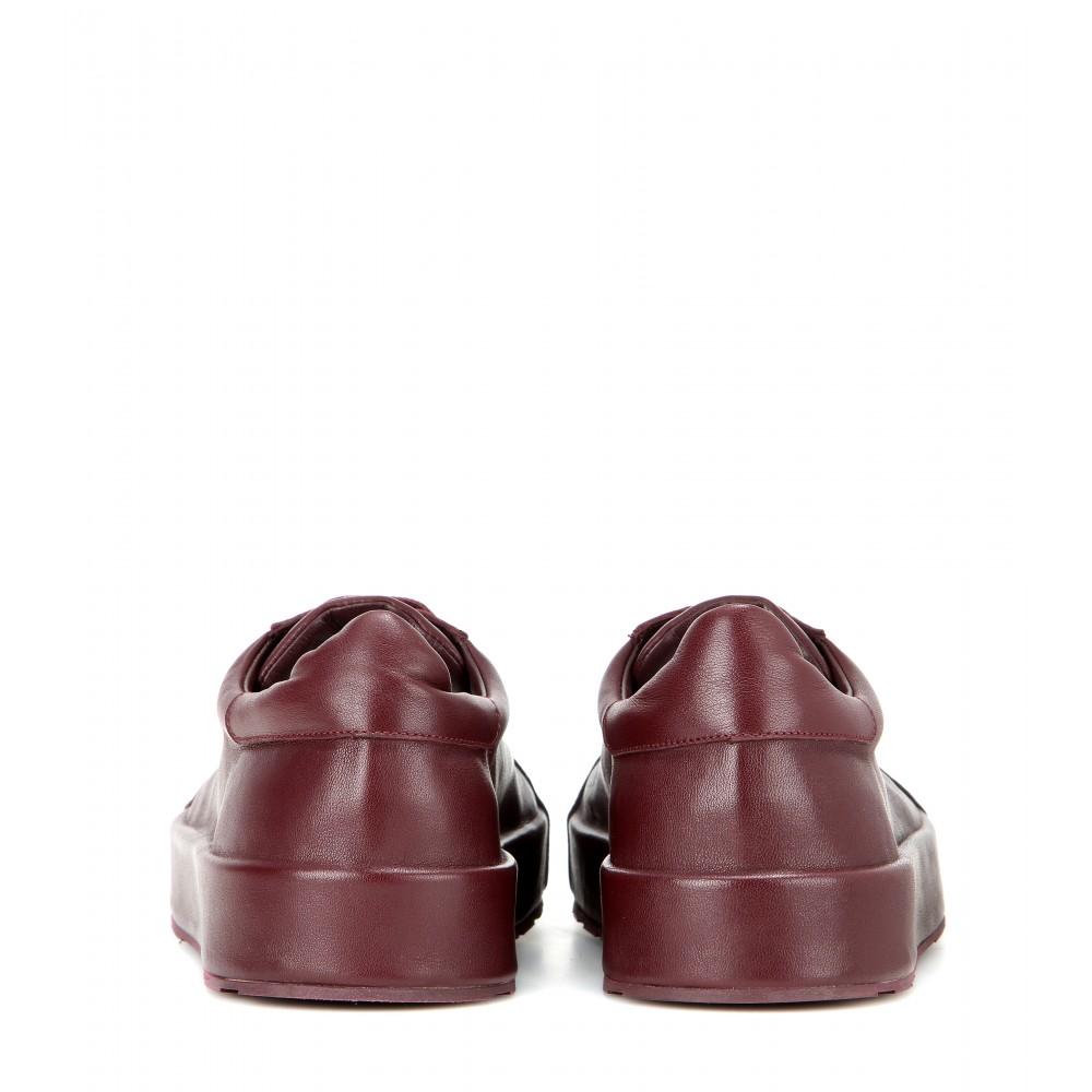 Jil Sander Leather Sneakers in Brown