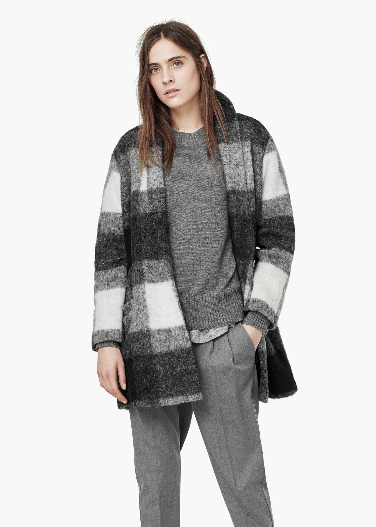 Mango check wool blend coat black