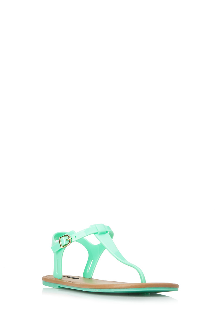 Forever 21 Favorite Jelly Sandals In Green Lyst