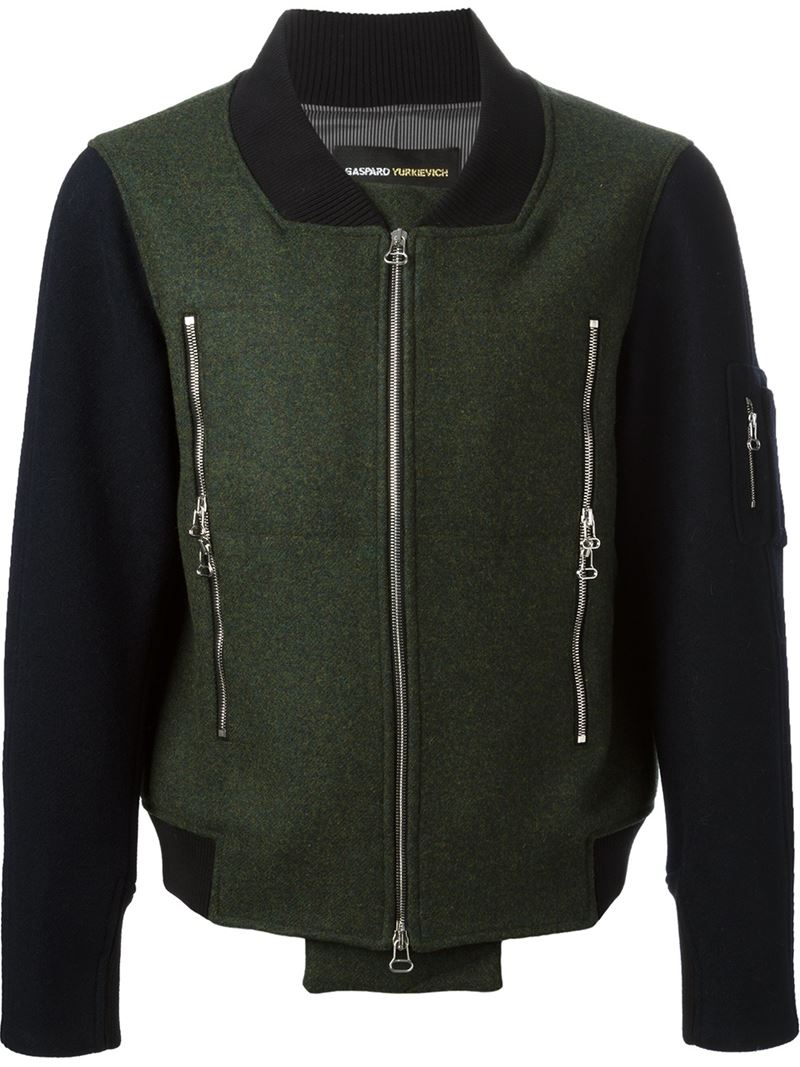 Gaspard Yurkievich Contrasting Panels Bomber Jacket in Green for Men