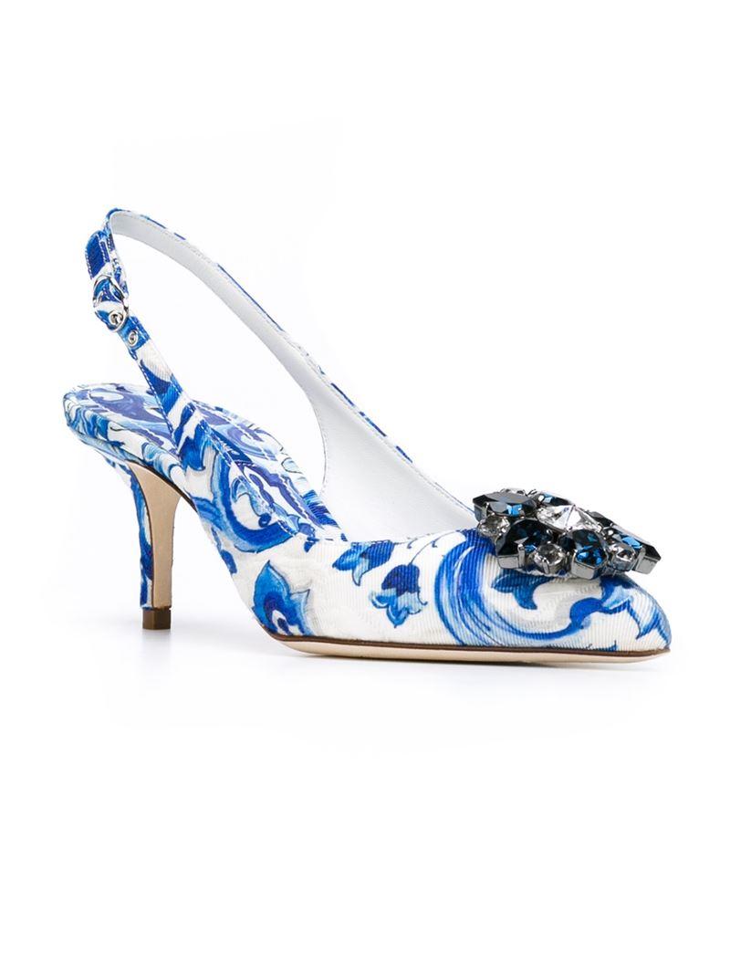 Majolica-print Bellucci pumps - White Dolce & Gabbana rehui