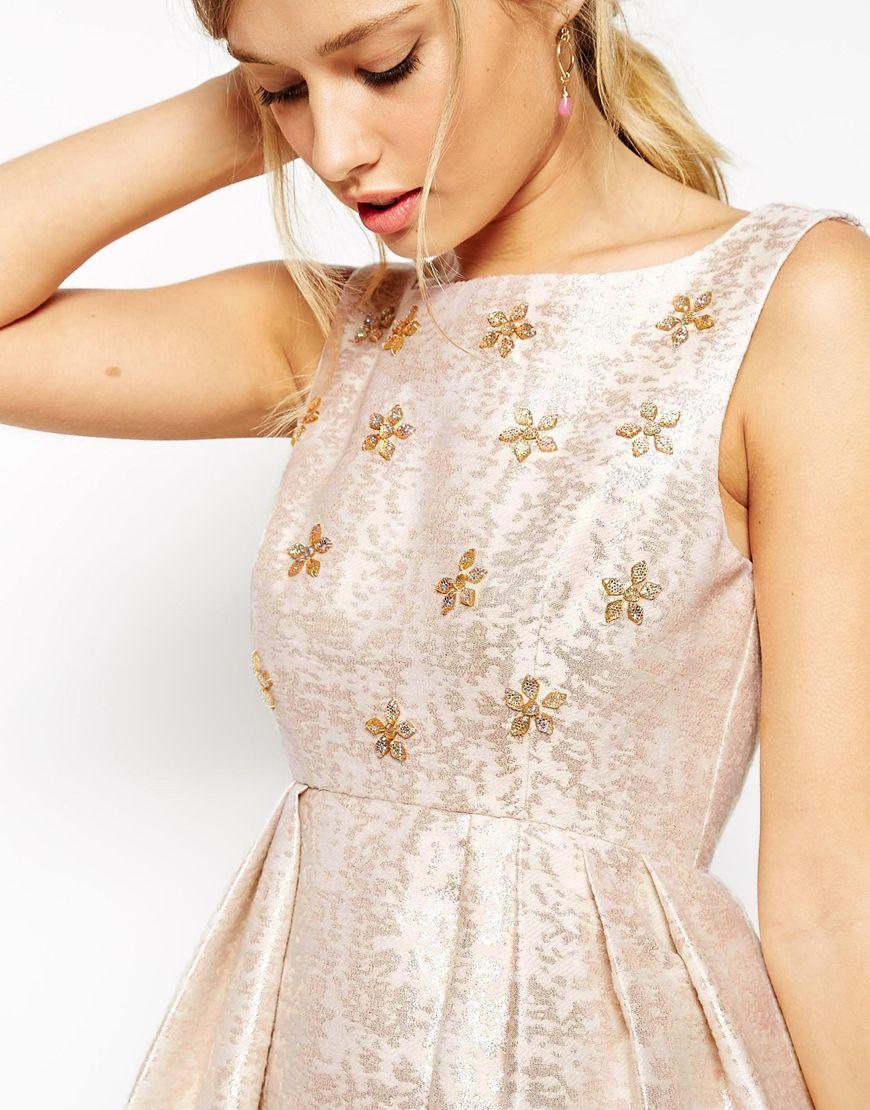 e6934bdf092d ASOS Salon Crystal Bodice Jacquard Prom Dress in Natural - Lyst