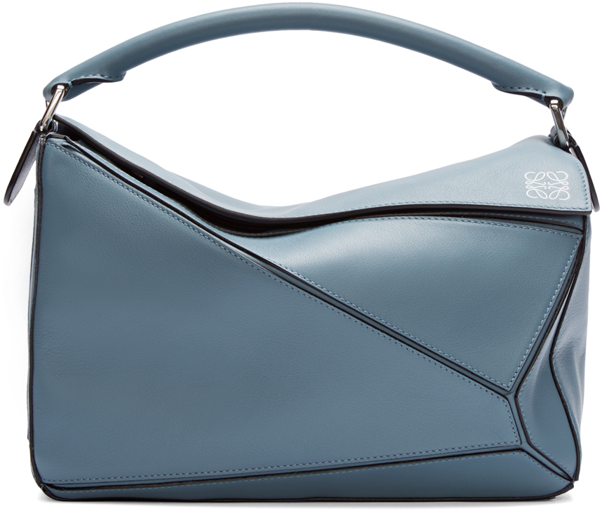 Loewe Blue Leather Small Puzzle Bag In Blue Lyst