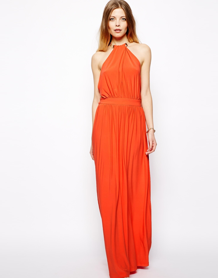 Asos Maxi Dress With Embellished Necklace in Orange