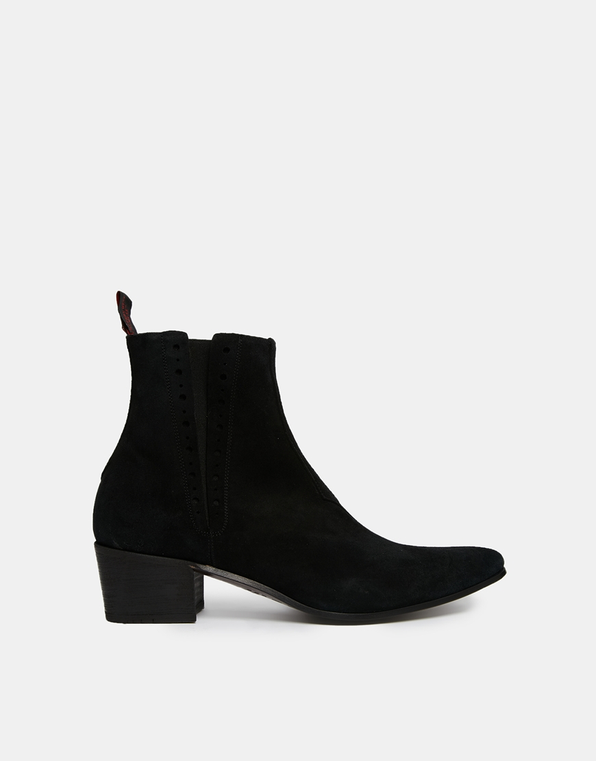 jeffery west suede chelsea boots in black for lyst
