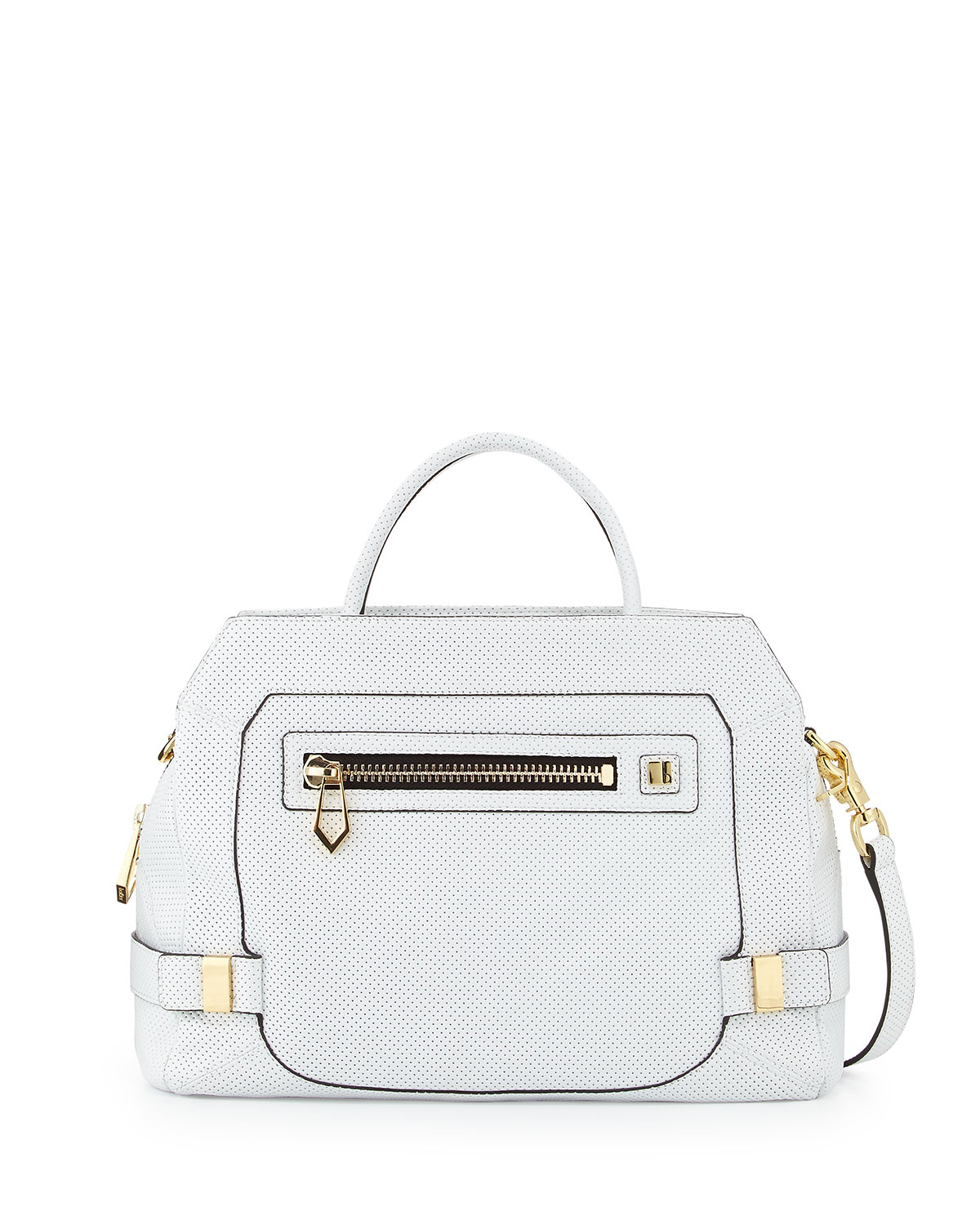 Botkier Honore Large Perforated Leather Satchel Bag White in White ...